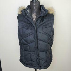 Columbia Titanium  Black Hooded Down Faux Fur Vest